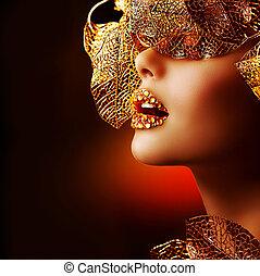 mooi, gouden, makeup., luxe, make-up, professioneel,...