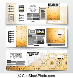 mooi, gouden, set, abstract, al, vierkant ontwerp, arabische , textuur, tri-fold, -, model, geometrisch, templates., moslim, middelen, ornament., islamitisch, achtergrond, kalligrafie, brochures, community., vector, eid, fitr-
