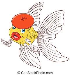 mooi, goudvis, spotprent