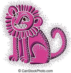 mooi, grafisch, zittende , paarse , illustratie, symbool, leeuw, vector, teeth, wild, emotioneel, manen, mascotte, uitdrukking, animal., design.