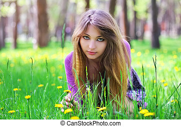 mooi, gras, zetten, gele, dons, meisje, bloemen