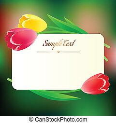 mooi, greating, lente, rechthoekig, bloemen, kaart