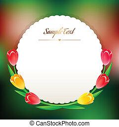 mooi, greating, lentebloemen, ronde, kaart
