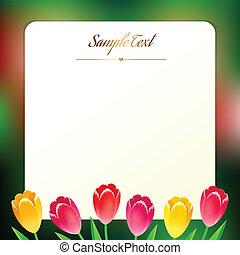 mooi, greating, plein, lentebloemen, kaart