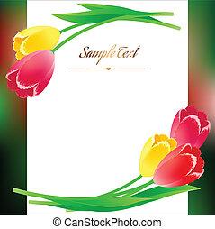 mooi, greating, verticaal, lente, rechthoekig, poster, bloemen