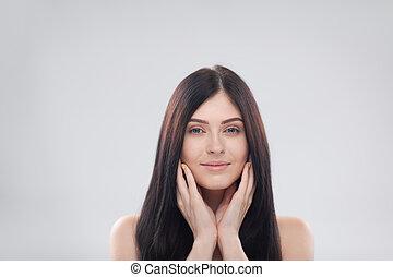 mooi, grijs, vrouw, beauty, op, jonge, op, brunette, achtergrond, afsluiten, vrouwlijk, verticaal, meisje, gezicht, glimlachen