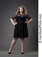 mooi, grijs, vrouw, grootte, jonge, dres, studio, achtergrond, plus, model, xxl, black