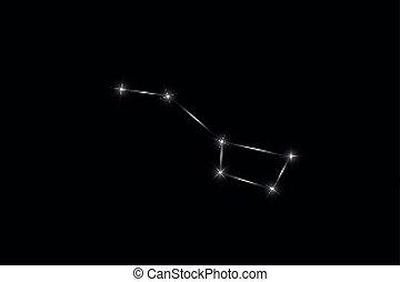 mooi, grote dipper, illustratie, meldingsbord, achtergrond., helder, vector, black , sterretjes, zodiac