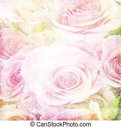 mooi, grunge, (, set), 1, rozen, achtergrond