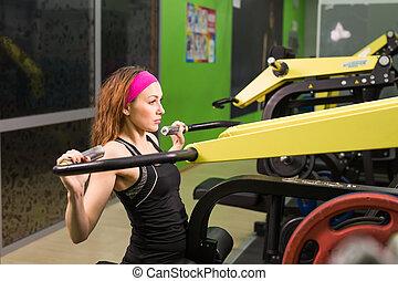 mooi, gym, vrouw, het uitoefenen, machine.