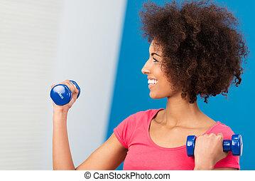 mooi, gym, vrouw, het uitoefenen, vrolijke