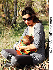 mooi, haar, baby-daughter, park, moeder, zonnig, jonge, vroeg, lente, dag