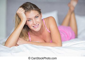 mooi, haar, bed, s, blonde, het liggen