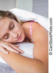mooi, haar, bed, slapend, blonde, het liggen