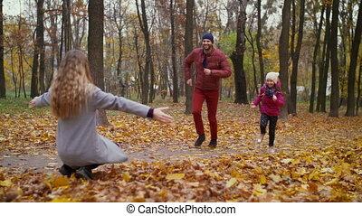 mooi, haar, moeder, familiy, herfst, omhelzen
