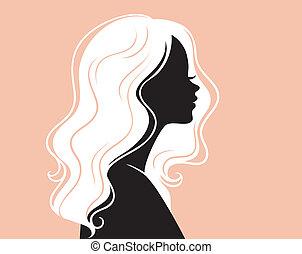 mooi, haar, van een vrouw, silhouette