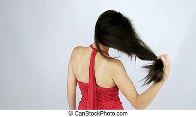 mooi, haar, verhuizing, glanzend, lang
