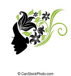 mooi, haar, vrouw, illustratie