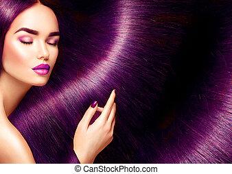 mooi, hair., beauty, brunette, vrouw, met, lang, recht, rood haar, als, achtergrond