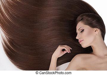 mooi, hair., hoogste mening, van, jonge, naakt, vrouwen,...