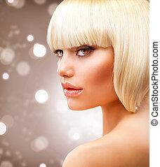 mooi, haircut., kort, gezonde , haar, blonde , meisje