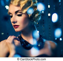 mooi, hairdo, vrouw, lippenstift, (shallow, dof, brandpunt,...