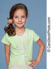 mooi, hairstyle, klein meisje, het glimlachen