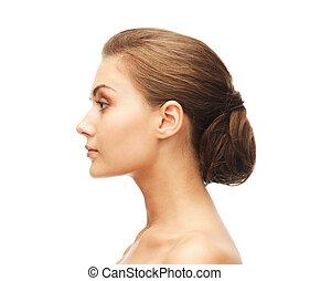 mooi, hairstyle, vrouw confronteren