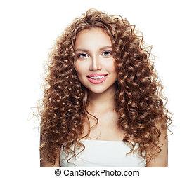 mooi, hairstyle, vrouw, gezonde , vrijstaand, girl., golvend, achtergrond, het glimlachen, witte