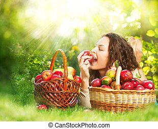 mooi, handappel, boomgaard, organisch, meisje