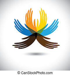 mooi, hands-, het tonen, bloem, verbond, kleurrijke, mensen...