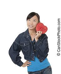 mooi, hart, vrouw, chinees, vasthouden, rood