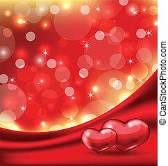 mooi, hartjes, kaart, valentine