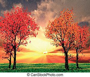 mooi, herfst landschap, illustratie