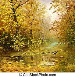 mooi, herfst landschap, olie, doek