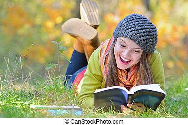mooi, herfst, meisje, boek, park