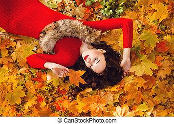 mooi, herfst, meisje, bos