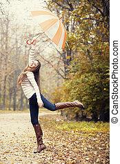 mooi, herfst, meisje, park., paraplu