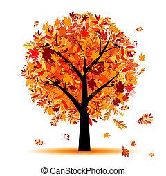 mooi, herfst, ontwerp, boompje, jouw