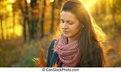 mooi, herfst, vrouw, park, jonge