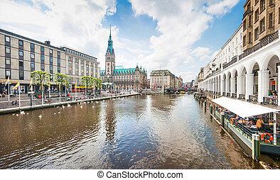 mooi, het centrum van de stad, hamburg, duitsland, aanzicht