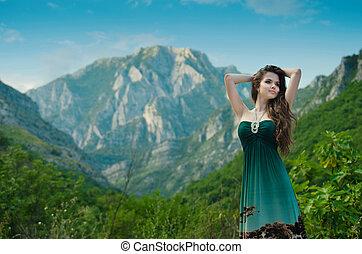 mooi, het genieten van, beauty, natuur, op, buitenshuis, meisje, te, mountain.