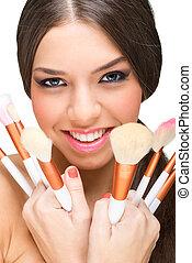 mooi, het glimlachen, makeup, model