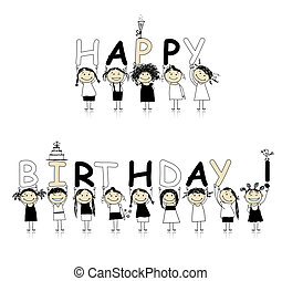 mooi, het glimlachen, verjaardag girls, vrolijke