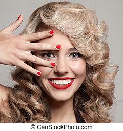 mooi, het glimlachen, woman., gezonde , lang, krullebol
