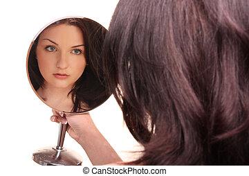 mooi, het kijken, witte , brunette, spiegel
