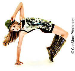 mooi, heup, dancing, tween, hop, meisje