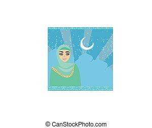 mooi, hijab, meisje, moslim, verticaal