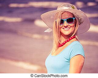 mooi, hoedje, blonde, strand, meisje