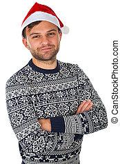 mooi, hoedje, kerstman, man